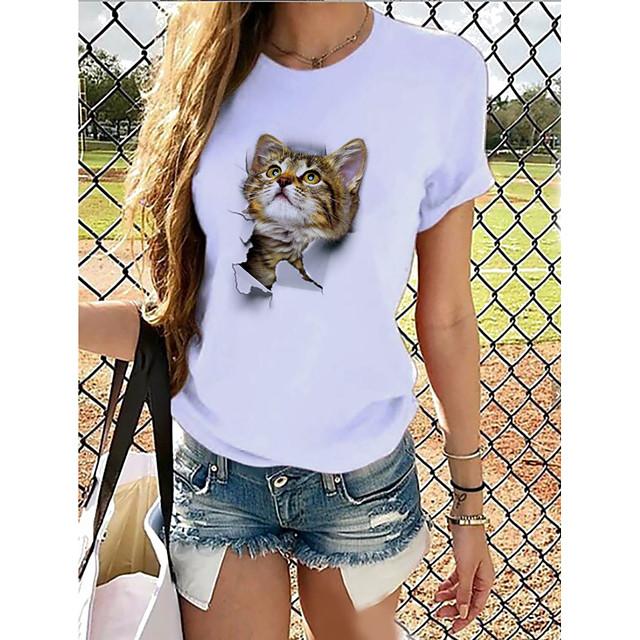 Dames T-shirt Grafisch 3D Opdruk Ronde hals Tops 100% katoen Basic Basis-top Panda Bruin