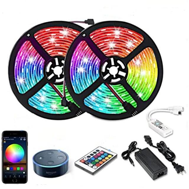 10m Strisce luminose LED flessibili Strisce luminose RGB Luci intelligenti 300 LED SMD5050 1 adattatore 12V 6A 1 telecomando da 24Keys Connettore cavo 1 a 2 1 set RGB + Bianco Impermeabile Controllo