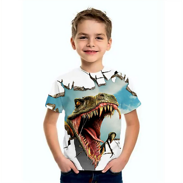 Kids Boys' T shirt Tee Short Sleeve Dinosaur Animal Print Children Summer Tops Basic Blue
