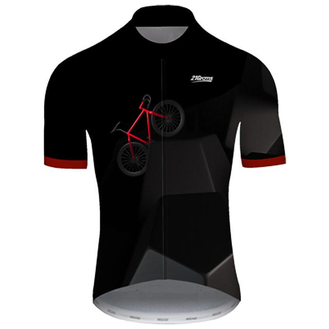 21Grams Homme Manches Courtes Maillot Velo Cyclisme Nylon Polyester Noir / Rouge 3D Pente Cyclisme Maillot Hauts / Top VTT Vélo tout terrain Vélo Route Respirable Séchage rapide Résistant aux