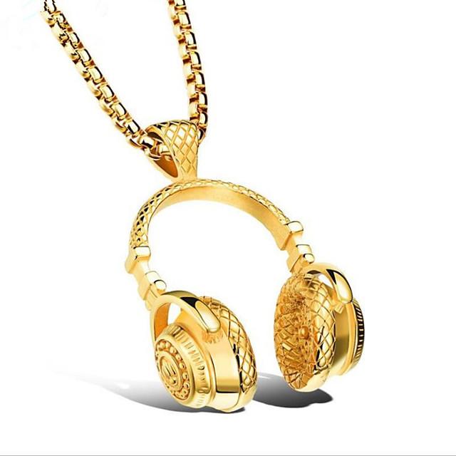 Муж. Ожерелья с подвесками Классический Цветы Мода Титановая сталь Черный Золотой Серебряный 50 cm Ожерелье Бижутерия Назначение