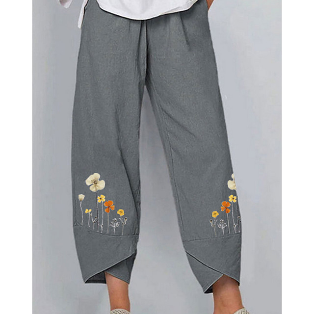 Women's Basic Daily Chinos Pants Floral Gray Light Blue