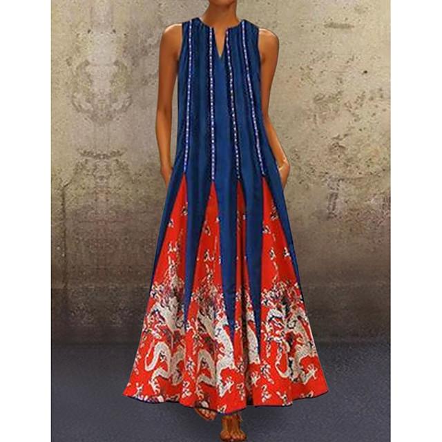 여성용 튜닉 맥시 드레스 화이트 블랙 푸른 루비 클로버 민소매 부족 프린트 여름 V 넥 뜨거운 캐쥬얼 2021 S M L XL XXL 3XL 4XL 5XL / 플러스 사이즈