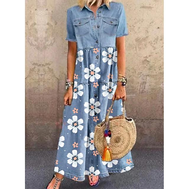 المرأة الدينيم قميص اللباس ماكسي فستان طويل أزرق قصير الأكمام الأزهار جيب زر الربيع الصيف قميص طوق أنيق عارضة عطلة 2021 m l xl xxl 3xl