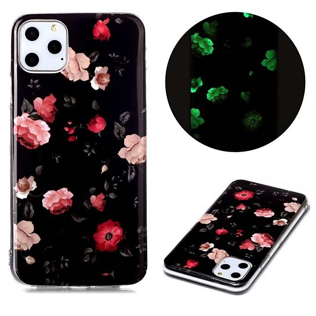 غطاء من أجل Apple اي فون 11 / iPhone XR / iPhone 11 Pro يضوي ليلاً / نموذج غطاء خلفي زهور TPU