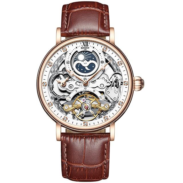 KINYUED Voor heren mechanische horloges Automatisch opwindmechanisme Moderne Style Stijlvol Informeel Waterbestendig Analoog Bruin+Goud Zwart Bruin / Echt leer / Kalender / Dubbele tijdzones