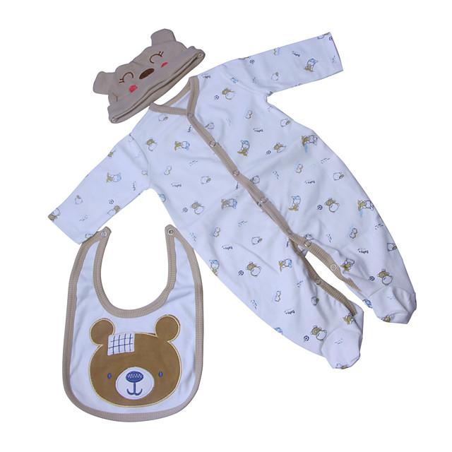 Vêtements de poupées Reborn Baby Accessoires de poupée Reborn Tissu en Coton pour poupée Reborn de 22 à 24 pouces Poupée Reborn Non Incluse Ours Doux Pur fait main Garçon 3 pcs