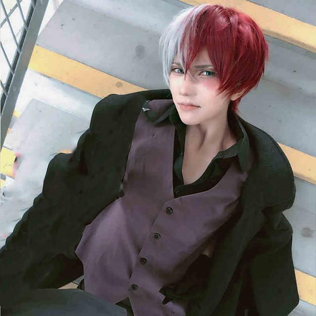 My Hero Academia / Boku No Hero Todoroki Shoto Pelucas de Cosplay Chico Chica 14 pulgada Fibra resistente al calor Peluca de anime
