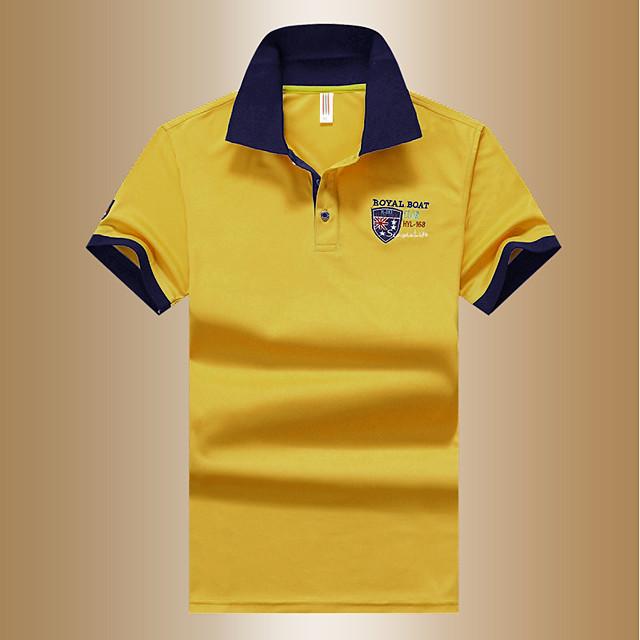 رجالي الرسم بولو ستايل كم قصير مناسب للبس اليومي قمم أساسي قبعة القميص أبيض أزرق أصفر / الصيف