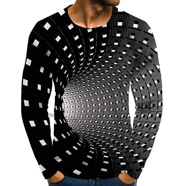 Per uomo maglietta Pop art 3D Print Taglie forti Con stampe Manica lunga Quotidiano Top Moda città Esagerato Rotonda Arcobaleno