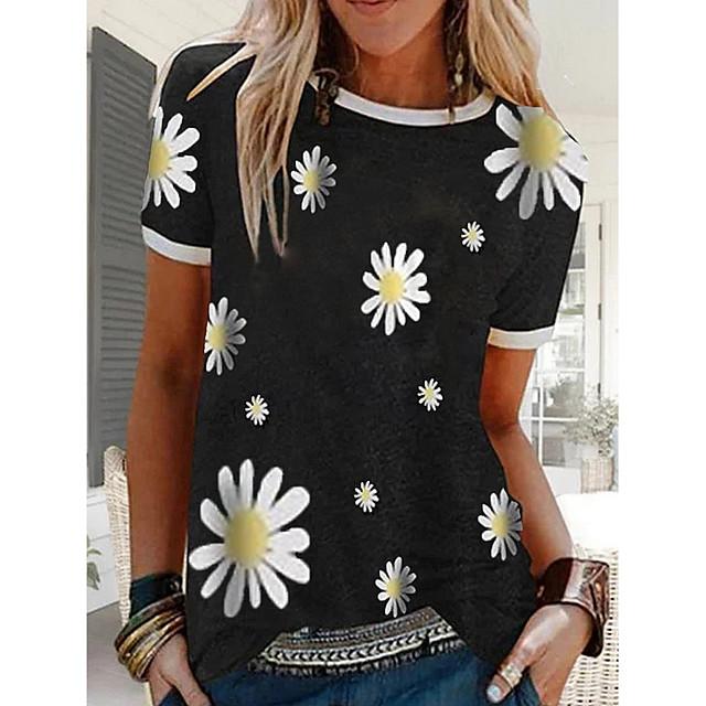 Dames T-shirt Bloemen Grafische prints Bloem Ronde hals Tops Basis-top Zwart blauw Rood