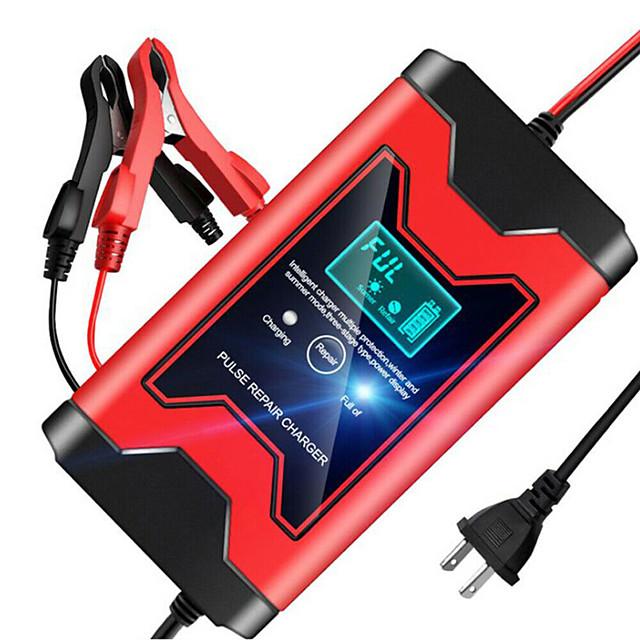 Caricabatterie per auto 12v 6a completamente automatico caricabatterie per riparazione a impulsi caricabatterie caricabatterie per batterie al piombo acido secco display lcd digitale