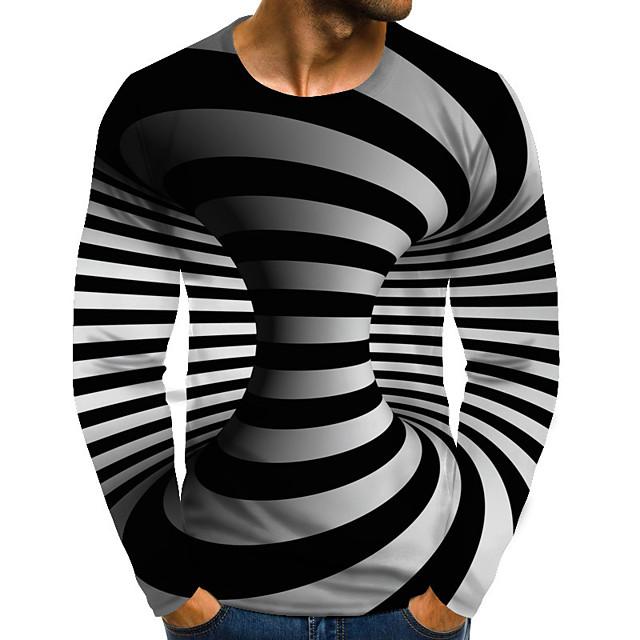 Herr Grafisk 3D Print Plusstorlekar T-shirt Tryck Långärmad Dagligen Blast Streetchic drivna Rund hals Regnbåge