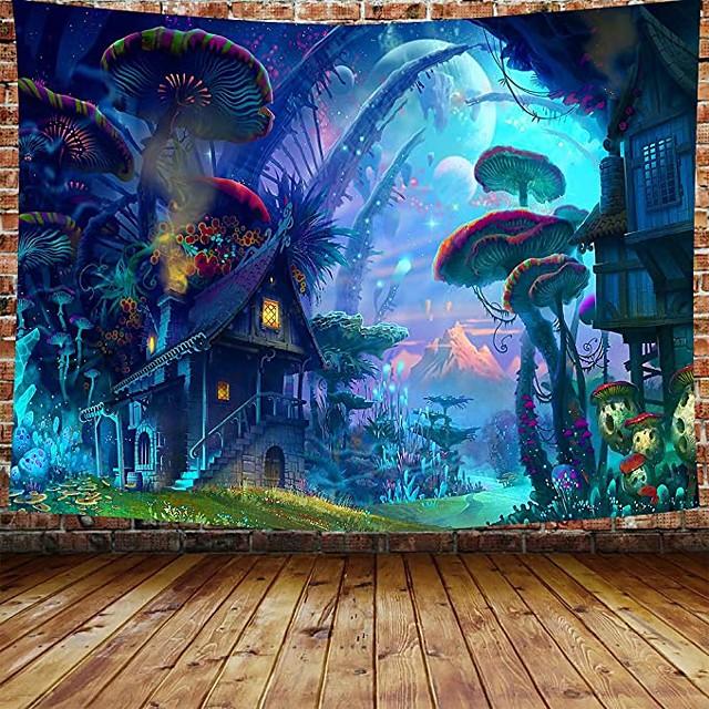 tapisserie murale art décor couverture rideau pique-nique nappe suspendu maison chambre salon dortoir décoration dessin animé fantaisie conte de fées champignon forrest house