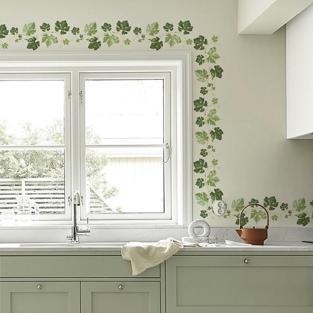 feuilles vertes vignes stickers muraux botaniques avion stickers muraux stickers muraux décoratifs pvc décoration de la maison sticker mural décoration murale 1 pc 60 * 16 cm