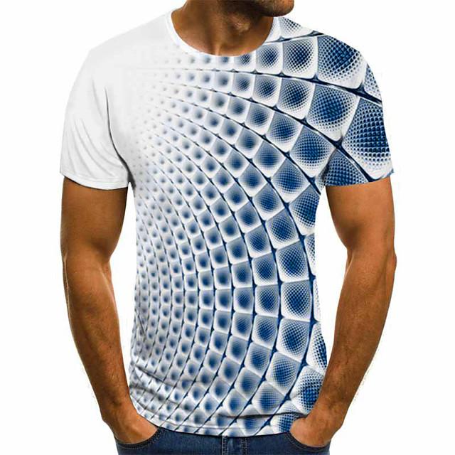 Homme Tee T-shirt 3D effet Ecossais à Carreaux Graphique 3D Manches Courtes Soirée Hauts basique Confortable Grand et grand Bleu Clair Bleu de cobalt Bleu
