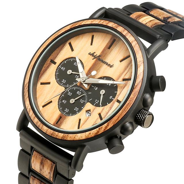 สำหรับผู้ชาย นาฬิกาแนวสปอร์ต นาฬิกาอิเล็กทรอนิกส์ (Quartz) สไตล์สมัยใหม่ สไตล์ แฟชั่น กันน้ำ ระบบอนาล็อก สีดำ สีน้ำตาล / ไม้ / ญี่ปุ่น / ญี่ปุ่น