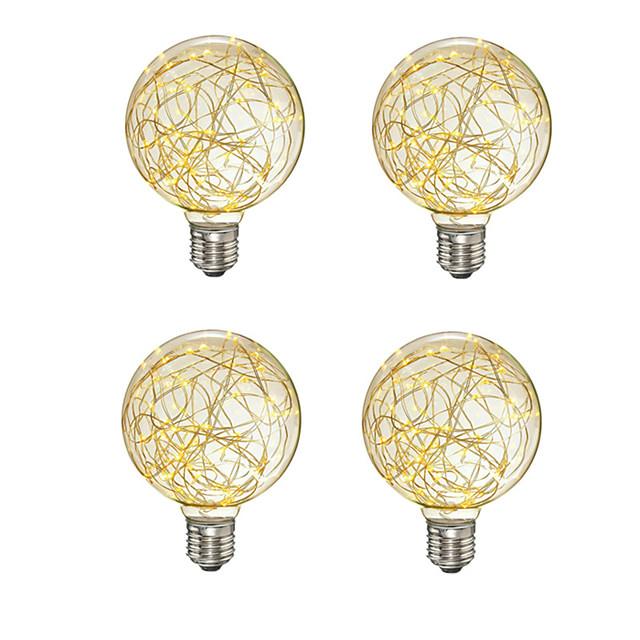 4 pcs créatif edison ampoule décoration vintage g95 led lampe à incandescence fil de cuivre chaîne e27 110 v 220 v remplacer les ampoules à incandescence