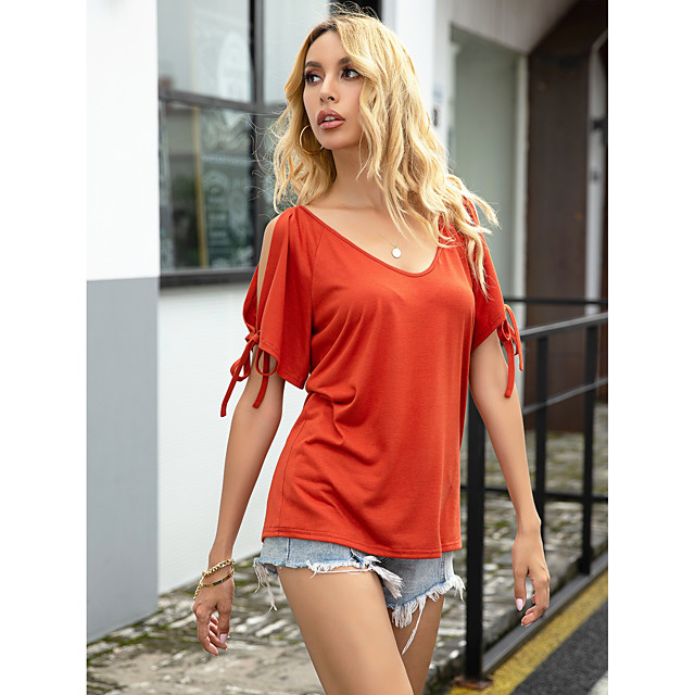 Women's Blouse Shirt Solid Colored Boat Neck Tops Basic Top Red