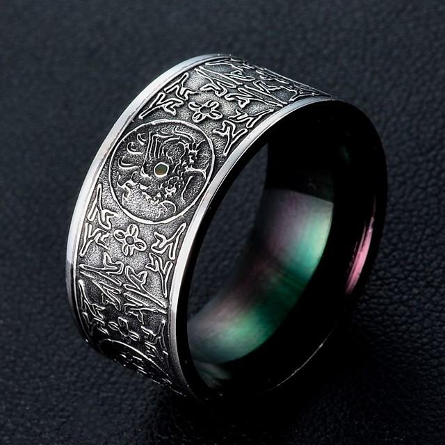 Inel Clasic Negru Oțel titan Vintage 8 9 10 11 / Bărbați