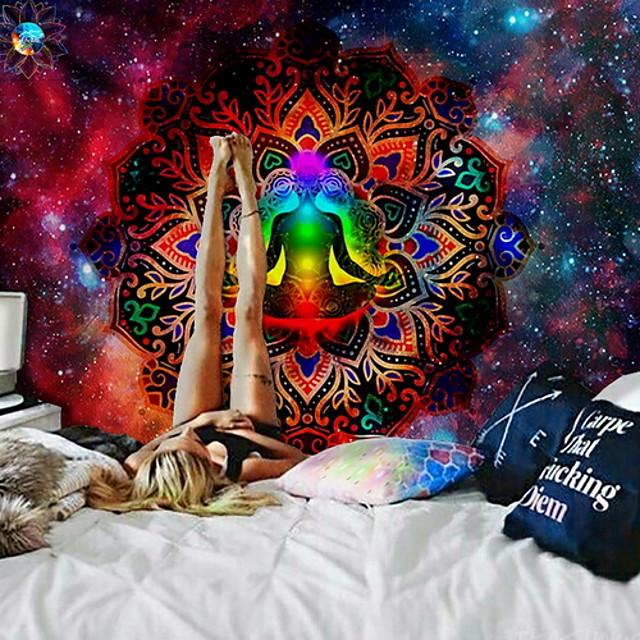 mandala bohème tapisserie murale art décor couverture rideau suspendu maison chambre salon dortoir décoration boho hippie psychédélique fleur floral lotus bouddha indien