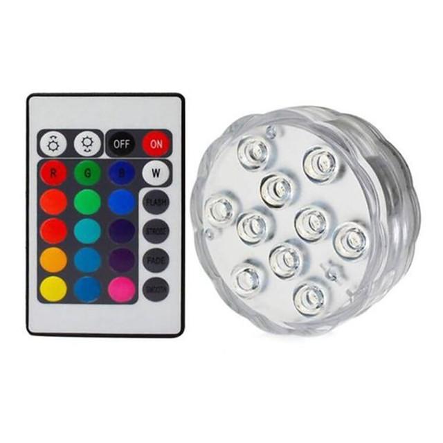 1pc 5 W Lumière Sous-marine Imperméable / Télécommandé / Intensité Réglable Changer 1.2 V Convient pour Vases et Aquariums 10 Perles LED