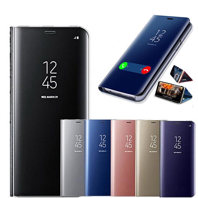 capa de celular com espelho inteligente para samsung galaxy s20 / s20 plus / s20 ultras / s10 / s10 plus / note10 / note10p / note10 capa de corpo inteiro à prova de choque / espelho / flip de cor sól