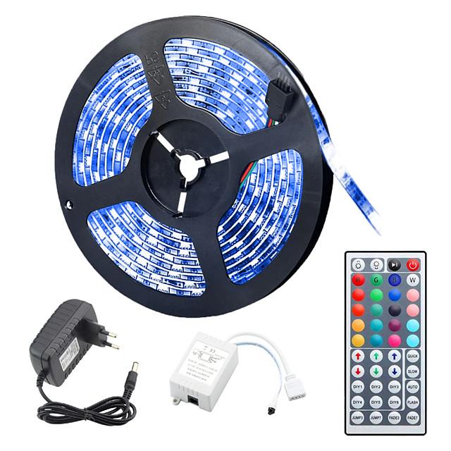5m Fâșii De Becuri LEd Flexibile Bare De Becuri LED Rigide Fâșii RGB 150 LED-uri 5050 SMD 10mm 1 44 Controlul telecomenzii 1set RGB Rezistent la apă Ce poate fi Tăiat De Legat 12 V / IP65
