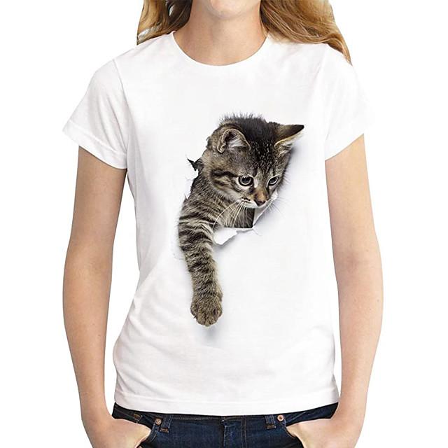 نسائي تي شيرت قطة الرسم 3D طباعة رقبة دائرية أساسي قمم 100% قطن بني داكن قطة قطة بيضاء