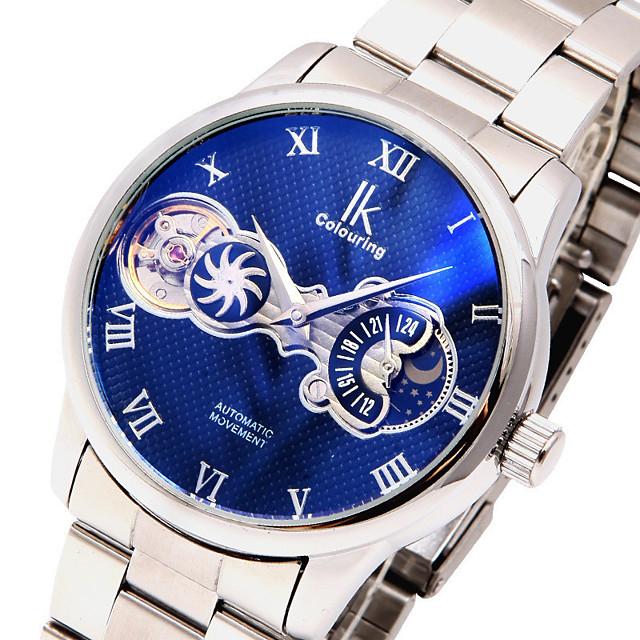 Voor heren mechanische horloges Automatisch opwindmechanisme Modieus Waterbestendig Analoog Wit + blauw Wit Blozend Roze / Een jaar / Roestvrij staal / s Nachts oplichtend