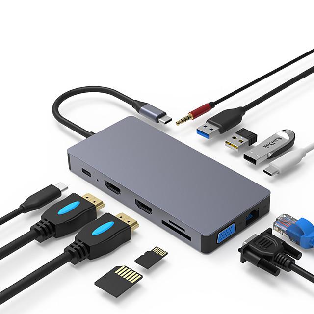 Fonction de livraison de puissance de support 01 USB 3.0 de USB C USB 2.0 de USB C à DC 3,5 mm VGA USB 3.0 de USB C USB 3.1 Micro-B SDI Midi Carte TF Concentrateur USB 12 Les ports Pour Windows, PC