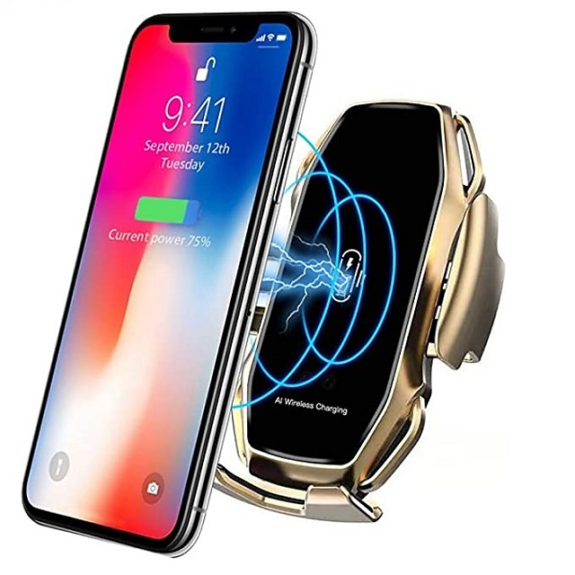 supporto intelligente per telefono veicolare caricabatterie wireless ricarica veloce supporto universale per auto compatibile iphone 11/11 pro / 11 pro max / xs max / xs / xr / x / 8/8 + samsung s10 /