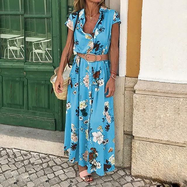 Women's Sheath Dress Maxi long Dress Blue Purple Yellow Sleeveless Floral Print Button Front Print Spring & Summer Deep V Hot Casual Cotton Boho Bohemia Beach S M L XL XXL