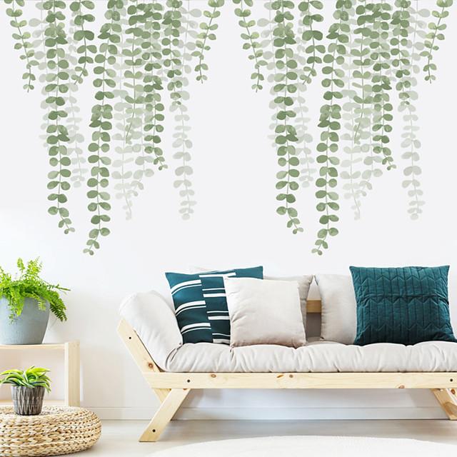 ضبابي الأوراق الخضراء ملصقات الحائط النباتية ملصقات الحائط الطائرة ملصقات الحائط الزخرفية pvc ديكور المنزل جدار صائق الجدار الديكور 2 قطع
