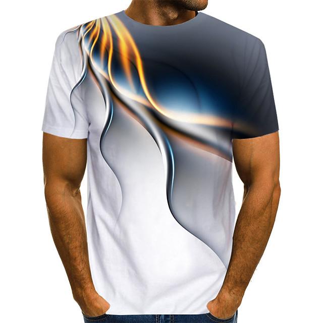 رجالي تي شيرت الرسم هندسي قياس كبير طباعة كم قصير فضفاض قمم أبيض