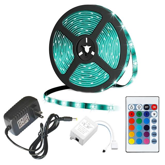 Jiawen 5m lumini cu bandă flexibile led RGB tiktok lumini 300 leduri 2835 smd 8mm 12 v telecomandă DC 12 v ip44