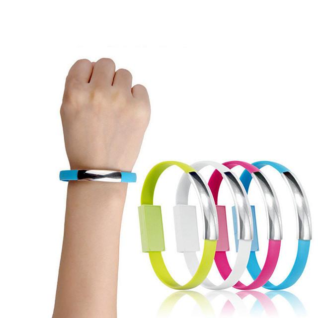 mini court bracelet plat micro usb 2.0 câble de chargeur de données de synchronisation pour les téléphones Android décontracté 2 en 1 bracelet bracelet