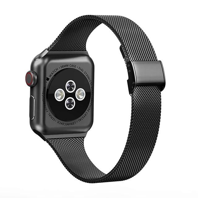 Cinturino intelligente per Apple  iWatch 1 pcs Cinturino a maglia milanese Acciaio inossidabile Sostituzione Custodia con cinturino a strappo per Apple Watch Serie SE / 6/5/4/3/2/1 38 millimetri 40