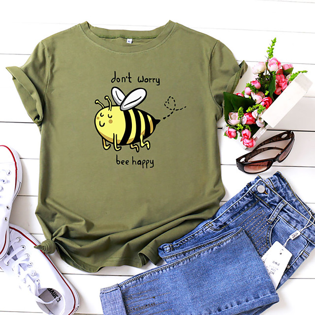 Women's T shirt Graphic Text Letter Print Round Neck Tops 100% Cotton Basic Basic Top White Yellow Blushing Pink