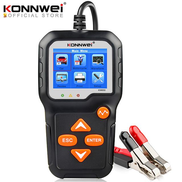 konnwei kw650 tester batteria 12v 6v auto moto batteria analizzatore di sistema 2000cca ricarica strumenti di test di avviamento per l'auto