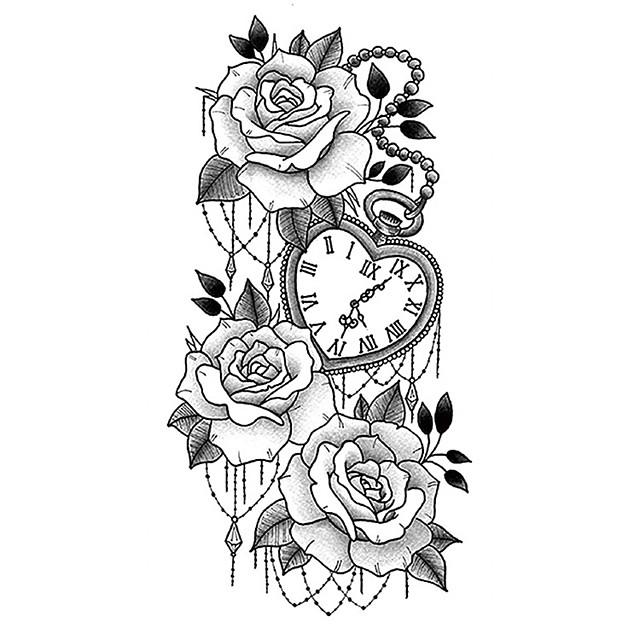 1 قطع الوشم تصاميم الوشم المؤقت ملصقات الوشم ماء صغيرة ذراع كامل الذئب رئيس النمر رئيس الزهور الرجال والنساء الوشم