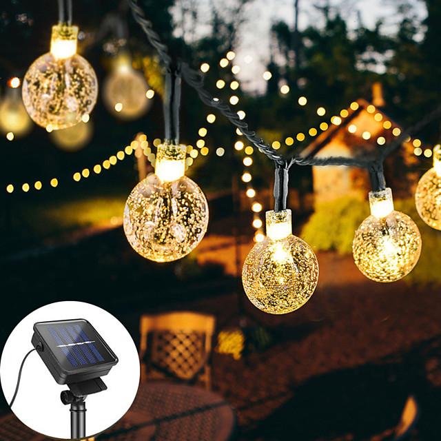 guirlande lumineuse solaire 12m 100led boule de cristal lampe à bulles guirlandes de fées guirlandes extérieures 8 fonction extérieure étanche pour la pelouse de jardin de mariage décoration de noël
