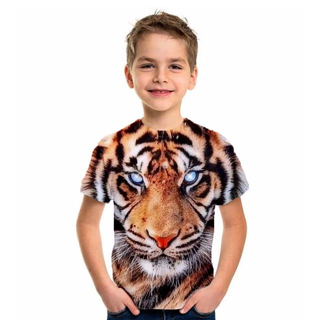 أطفال للصبيان تي شيرت كنزة مطبوعة كم قصير نمر حيوان أصفر أطفال قمم الصيف أساسي عطلة