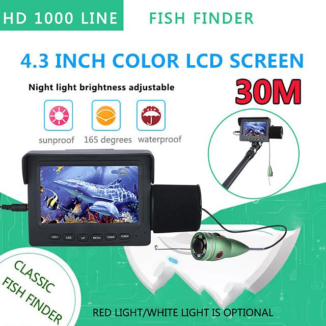 30m 1200tvl fish finder undervannsfiskekamera 4,3 tommers skjerm 6stk 6w ir led night vision camera for fishing