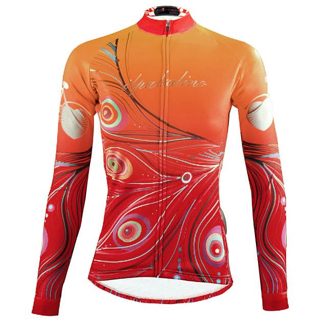 ILPALADINO Femme Manches Longues Maillot Velo Cyclisme Hiver Elasthanne Jaune Floral Botanique Cyclisme Hauts / Top VTT Vélo tout terrain Vélo Route Respirable Séchage rapide Résistant aux