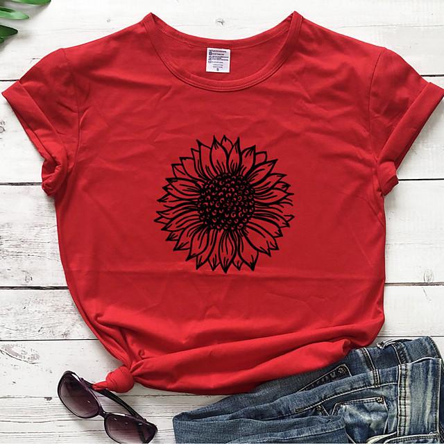 Dames T-shirt Grafisch Tekst Grafische prints Opdruk Ronde hals Tops 100% katoen Basic Basis-top Rood Geel Marineblauw / Zonnebloem