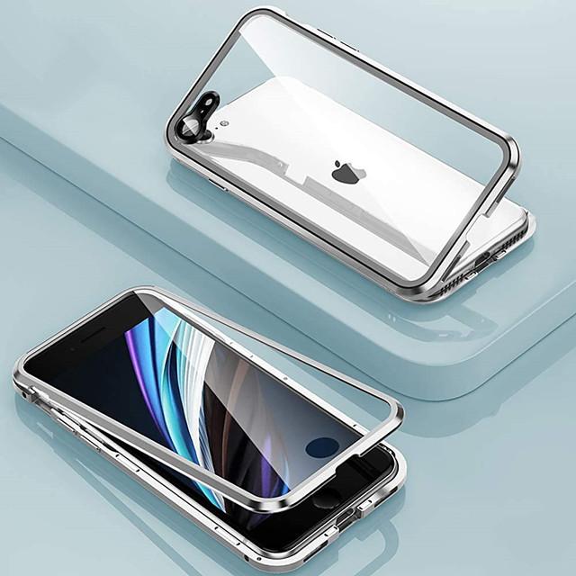 privacidad anti-pío funda magnética para iphone se2020 11 11pro 11 promax x xs xr xs max 8plus 8 7plus 7 adsorción magnética cubierta protectora de metal 360 de doble cara caja de vidrio anti pío