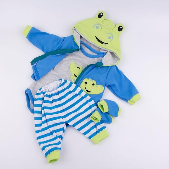 生まれ変わった赤ちゃんの人形の服 生まれ変わる人形のアクセサリー 綿織物 17-18インチの生まれ変わる人形のため 生まれ変わった人形を含まない カエル ソフト 純粋な手作り 男の子 4 pcs