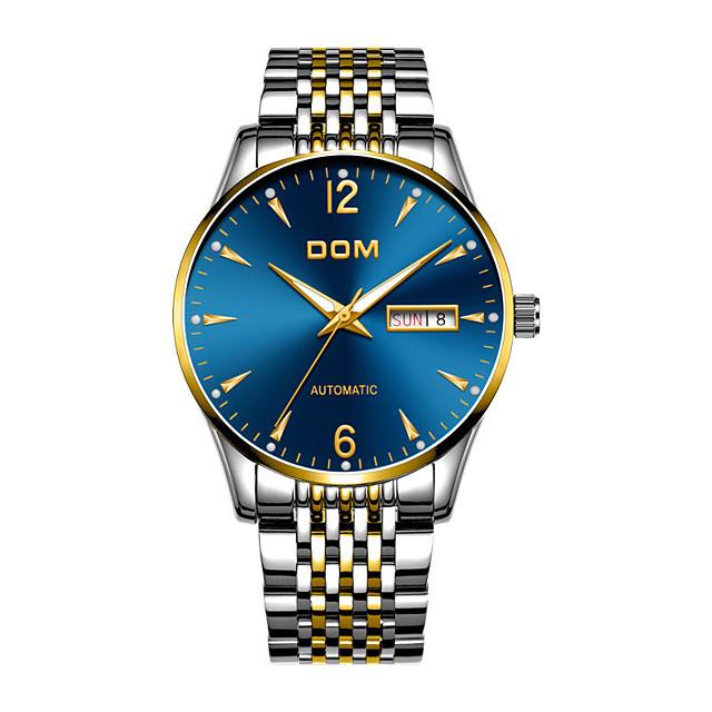 DOM Voor heren mechanische horloges Automatisch opwindmechanisme Moderne Style Stijlvol Informeel Kalender Analoog Zwart / Zilver Zwart Zwart / blauw / Roestvrij staal / Roestvrij staal