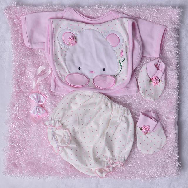 Vêtements de poupées Reborn Baby Accessoires de poupée Reborn Tissu en Coton pour poupée Reborn de 22 à 24 pouces Poupée Reborn Non Incluse Lapin Doux Pur fait main Fille 5 pcs
